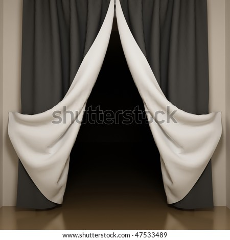 Black and white curtains with open-angle. View to dark room - stock photo