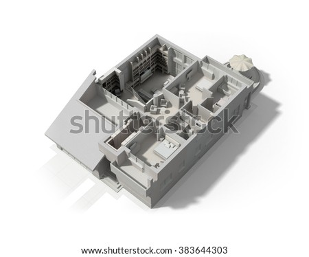 Black and white 3D rendering of a furnished residential house, with the second floor, showing the staircase, bedrooms, bathrooms and walk-in closets and storage. - stock photo