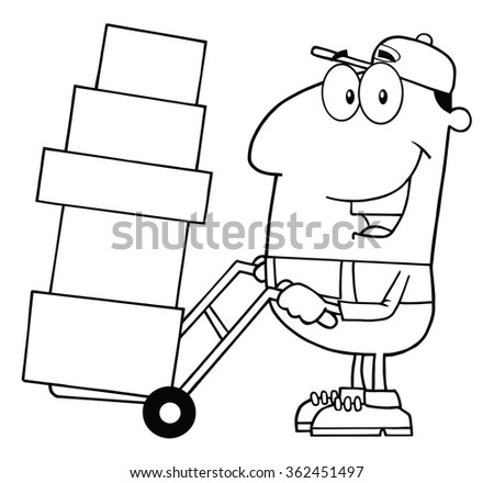 Black And White Delivery Man Cartoon Character Using A Dolly To Move Boxes. Raster Illustration Isolated On White - stock photo