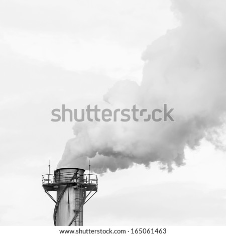 Black and white,Dirty smoke on the sky, ecology problems - stock photo