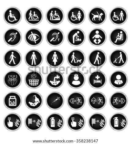Black and white disability people medical and fire escape route related icon collection isolated on white background  - stock photo