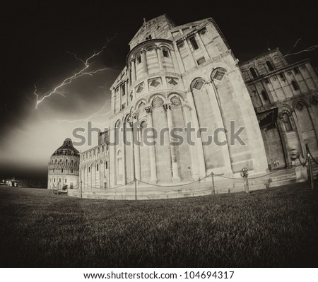 Black and White dramatic picture of Piazza dei Miracoli in Pisa, Fisheye view - stock photo