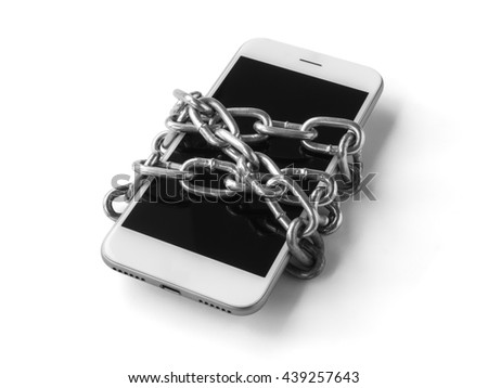 Black and white filter of mobile phone with chain locked isolate on white background with clipping path. Concept of social network issues, forgot password, information security, phubbing, addiction - stock photo