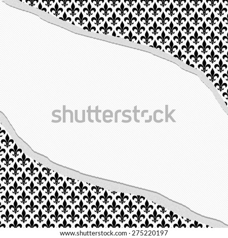 Black and White Fleur De Lis Pattern Torn Textured Fabric Background with center copy-space, Classic Background - stock photo