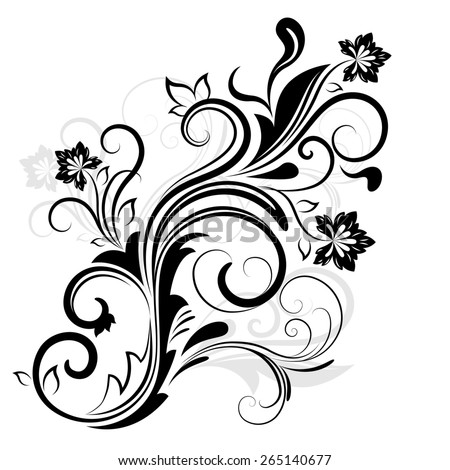Black and white floral design element isolated on white. - stock photo