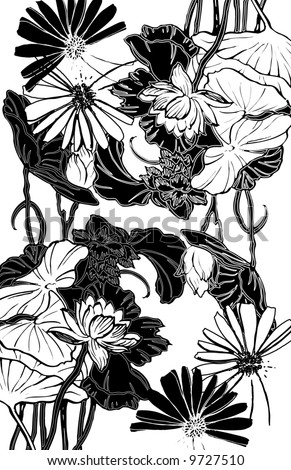 black and white floral stencil motif hand-drawn line art design - stock photo