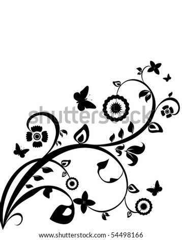 Black-and-white flower background - stock photo