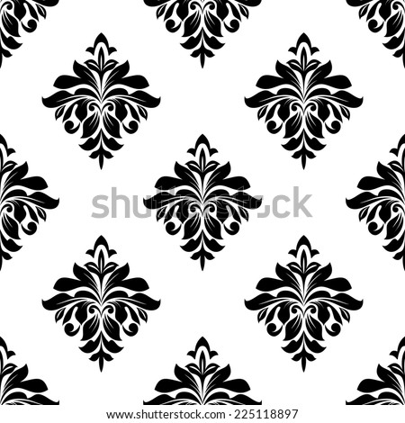 Black and white foliate seamless pattern background for wallpaper or textile design - stock photo