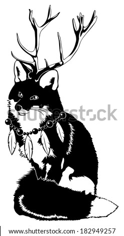 Black and White Fox with Antlers wearing Feather Necklace - stock photo