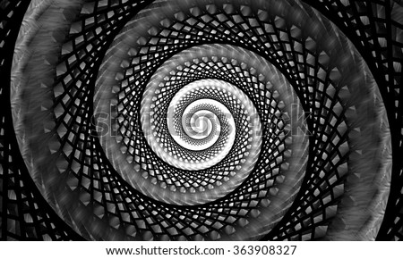 Black and white fractal. Fractal lines. Abstract fractal. Fractal art background for creative design. Decoration for wallpaper desktop, poster, cover booklet. Psychedelic. Print for clothes, t-shirt. - stock photo