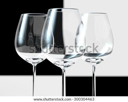 Black and white glass - stock photo