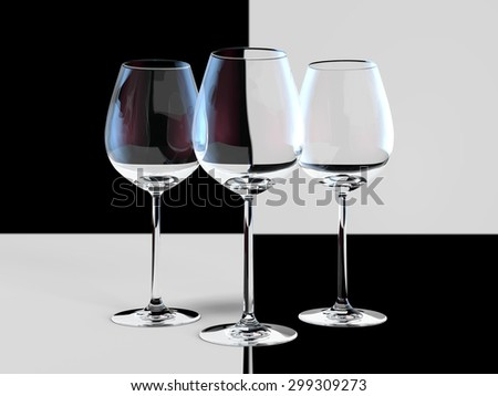 Black and white glass with color reflections - stock photo