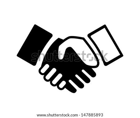 Black and white Hand shake icon. See also vector version - stock photo