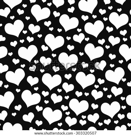 Black and White Hearts Tile Pattern Repeat Background that is seamless and repeats - stock photo