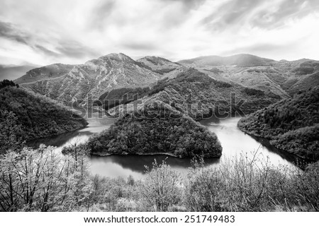 black and white high contrasted nature background in bulgarian mountains - stock photo
