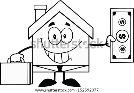Black And White House Businessman Carrying A Briefcase And Showing A Dollar Bill. Raster Illustration - stock photo