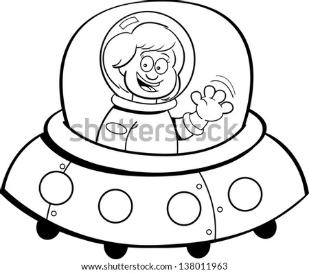 Black and white illustration of a girl in a spaceship. - stock photo
