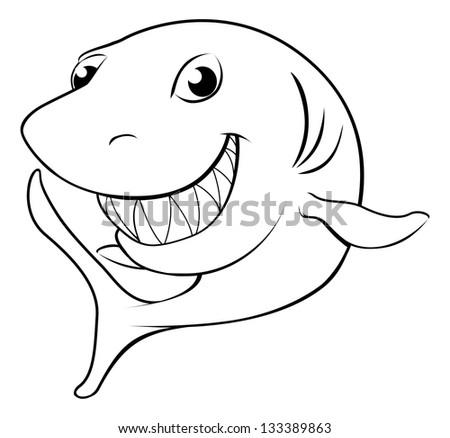 Black and white illustration of a happy cartoon shark - stock photo
