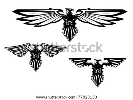 Black and white illustration of a stylized eagle or phoenix with outspread wings with three different variations of the wings. Vector version also available in gallery - stock photo