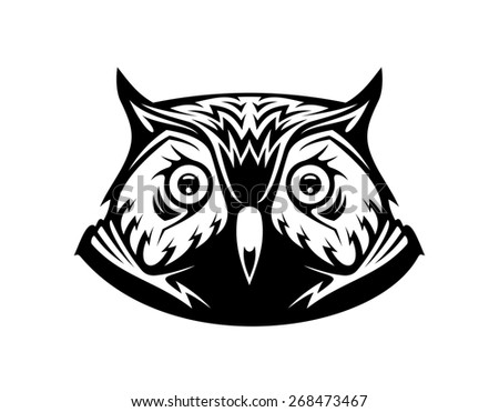 Black and white illustration of the head a wise old owl looking directly at the viewer, on white - stock photo