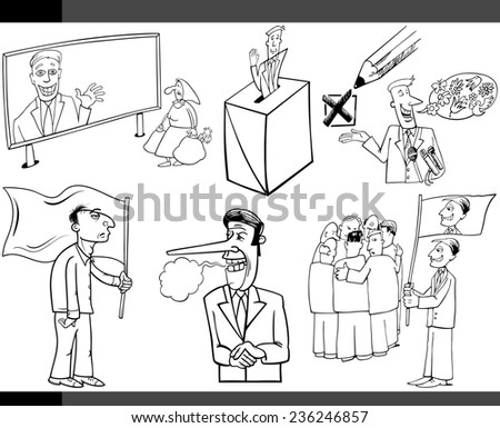 Black and White Illustration Set of Humorous Cartoon Concepts or and Metaphors of Politics and Democracy - stock photo