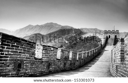 black and white image from the great wall in china  - stock photo