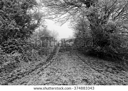 Black and White image of  a frost covered footpath going over a canal bridge on a cold and foggy winters day. - stock photo
