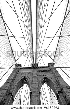 Black and white  image of Brooklyn Bridge in New York - stock photo