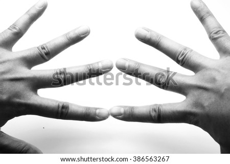 Black and white image of female/woman hands. - stock photo