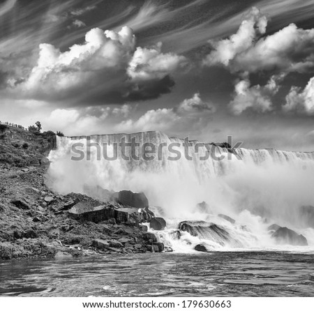 Black and white image of Niagara Falls.  - stock photo