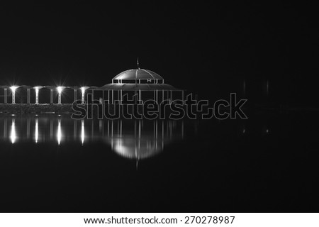 Black and White Image of Night Dead Sea View with Reflection,Israel  - stock photo