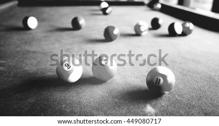 Black and white image of Snooker ball on snooker table. - stock photo