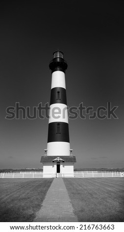 Black and White image of the Bodie Lighthouse, Outer Banks, North Carolina - stock photo