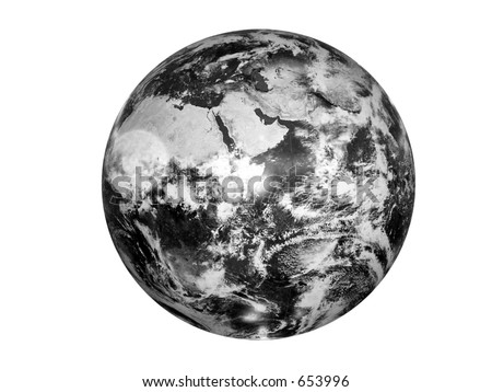 black and white image of the globe - stock photo