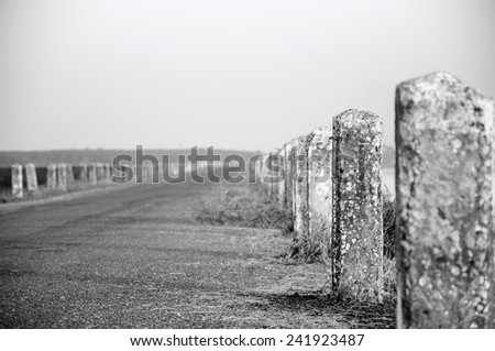 Black and white images of roads and concrete pillars. - stock photo