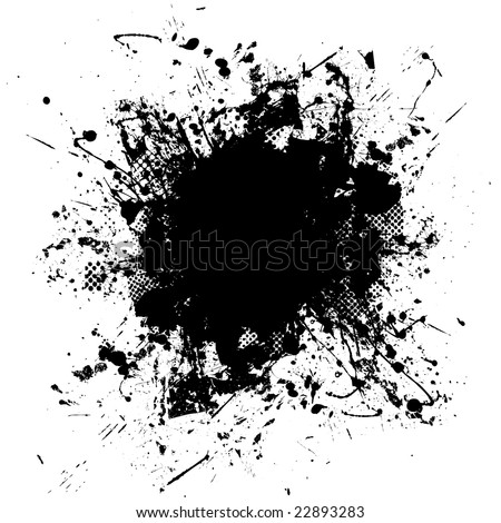 Black and white ink splat design with half tone pattern - stock photo