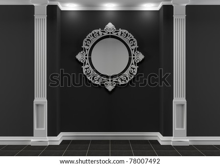Black and white interior with classic elements and round decorative frame - stock photo