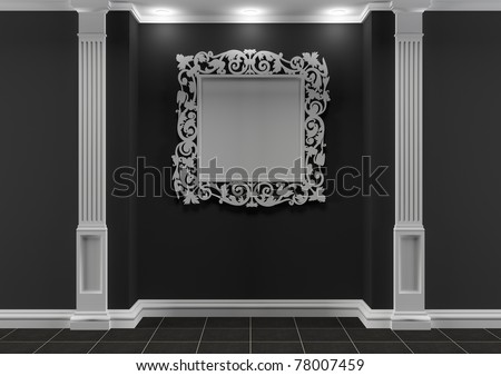 Black and white interior with classic elements and square decorative frame - stock photo