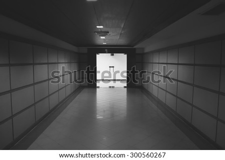 black and white interior with glass doors and a showcase - stock photo
