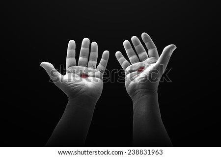 Black and white Jesus Christ bloody hand. Christmas background, Forgiveness, Mercy, Humble, Repentance, Reconcile, Adoration, Glorify, Redeemer, Redemption, Gospel, Love, Faith, Hope, Trust concept. - stock photo