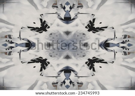 Black and white kaleidoscope graffiti background - stock photo