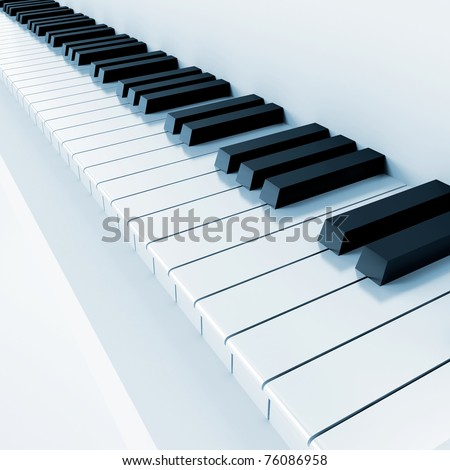 black and white keys of musical instrument - stock photo