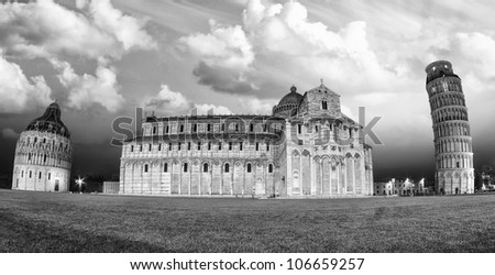 Black and White Landscape of Miracles Square in Pisa, Italy - stock photo