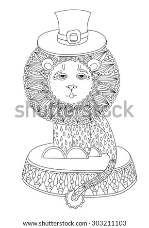 black and white line art illustration of circus theme - lion in a hat,  you can use like coloring book for adults, raster version illustration - stock photo
