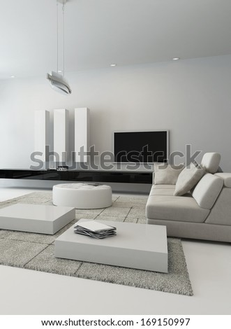 Black and white living room interior - stock photo