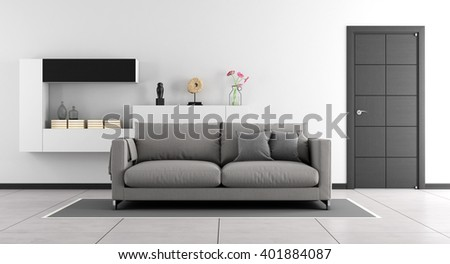 Black and white living room with sofa,wall unit and closed door - 3d Rendering - stock photo