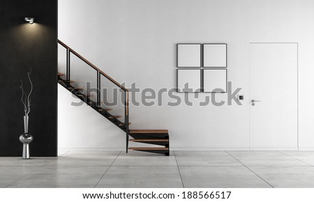 Black and white living room with staircase - rendering - stock photo