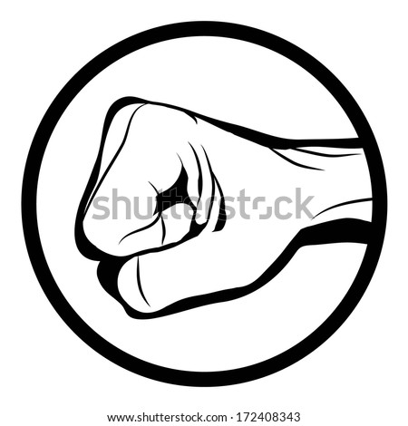 Black and white Man hand sign Hand with clenched a fist , isolated on white background raster - stock photo