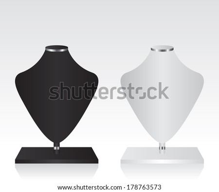 Black and white mannequin jewelry stand - stock photo