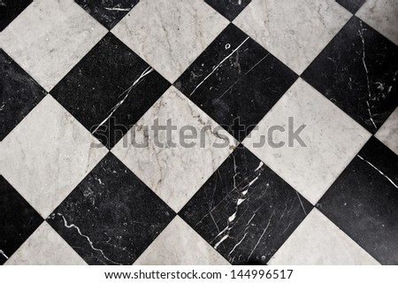 Black and White Marble Tiles, bathroom flooring - stock photo